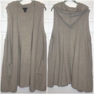 NWOT Wool Blend Long Vest - Oatmeal Color